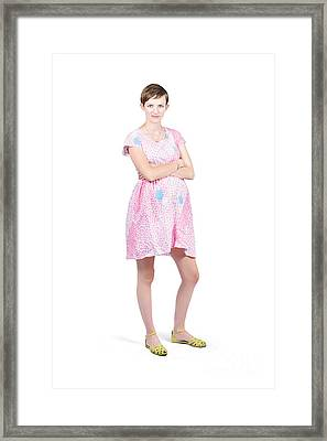 Pregnant Woman With Serious Expression On White Framed Print by Jorgo Photography - Wall Art Gallery