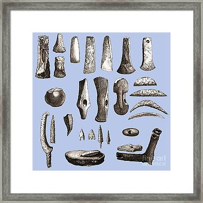 Prehistoric Stone Tools Framed Print by Sheila Terry