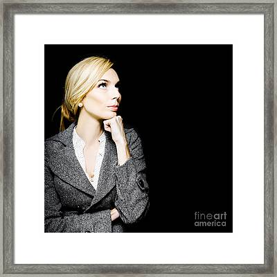 Preoccupied Beautiful Business Woman Framed Print by Jorgo Photography - Wall Art Gallery