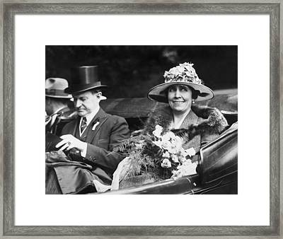President And Mrs. Coolidge Framed Print by Underwood Archives