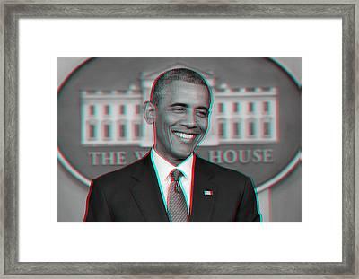 President Barack Obama In 3d Framed Print