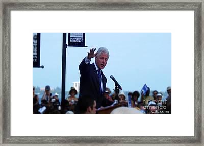 President Clinton In Fort Pierce Framed Print by Megan Dirsa-DuBois