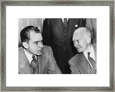 President Eisenhower And Nixon Framed Print