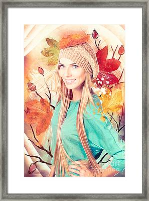 Pretty Blond Girl In Autumn Fashion Illustration Framed Print by Jorgo Photography - Wall Art Gallery