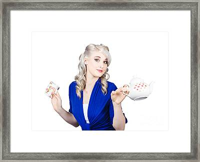 Pretty Blonde Girl Holding A Kettle And A Cup Framed Print by Jorgo Photography - Wall Art Gallery