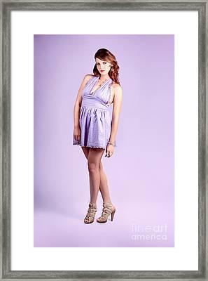 Pretty Brunette Pin Up Woman In Purple Dress Framed Print