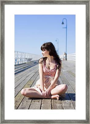 Pretty Pier Woman Framed Print by Jorgo Photography - Wall Art Gallery