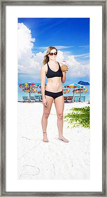 Pretty Woman Drinking Coconut Cocktail Framed Print