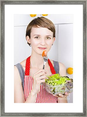 Pretty Woman Holding Salad Bowl Framed Print by Jorgo Photography - Wall Art Gallery