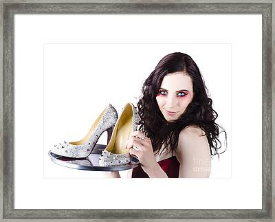 Pretty Woman Selling Shoes On Silver Plate Framed Print
