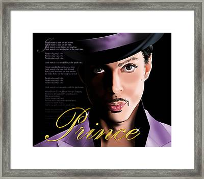 Prince Framed Print by Timothy Ramos