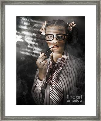 Private Eye Detective Smoking At Crime Scene Framed Print by Jorgo Photography - Wall Art Gallery