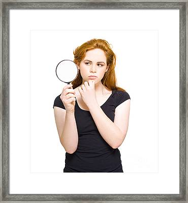 Private Eye Holding Spy Glass Framed Print by Jorgo Photography - Wall Art Gallery