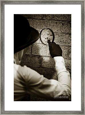 Private Eye Searching For Clues Framed Print