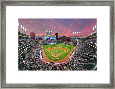Progressive Field Sunset Framed Print