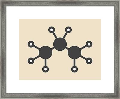 Propane Hydrocarbon Molecule Framed Print by Molekuul