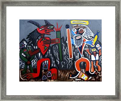 Framed Print featuring the painting Pros Vs. Cons by Ryan Demaree