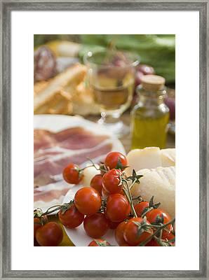 Prosciutto Ham, Cheese, Tomatoes, White Framed Print