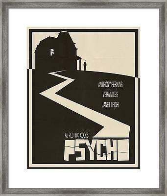 Psycho Movie Poster - Beige Framed Print