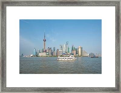 Pudong District Skyline And Huangpu Framed Print