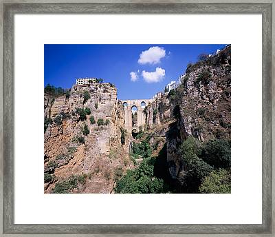 Puente Nuevo Bridge Above The Gorge Framed Print by Panoramic Images