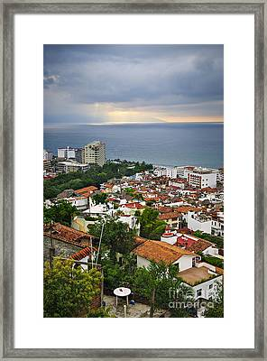 Puerto Vallarta And Pacific Ocean Framed Print by Elena Elisseeva