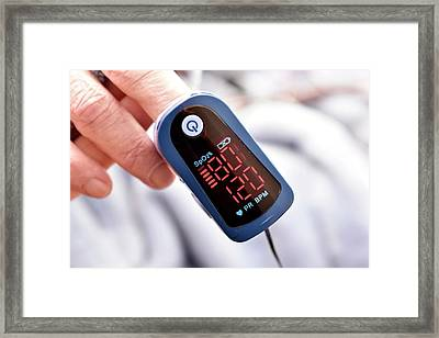Pulse Oximeter Framed Print by Dr P. Marazzi/science Photo Library