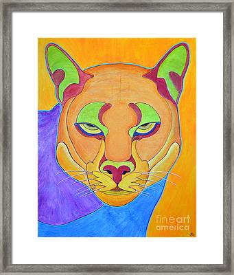 Framed Print featuring the painting Puma 1 by Joseph J Stevens