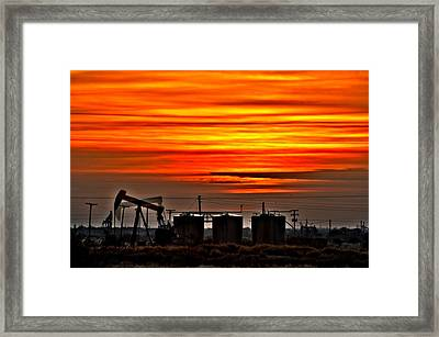 Pumpjack In Motion Framed Print