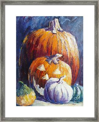 Pumpkin Happy Face Framed Print