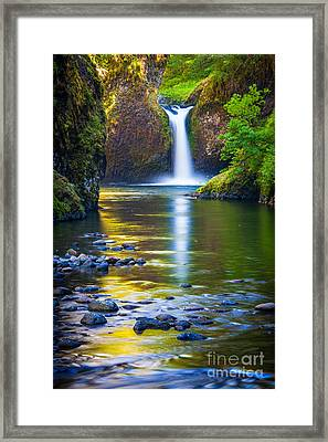 Punchbowl Falls Framed Print by Inge Johnsson