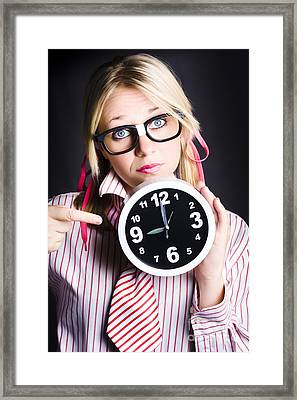 Punctual Woman Late For Time Schedule Deadline Framed Print by Jorgo Photography - Wall Art Gallery