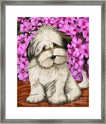 Framed Print featuring the painting Puppy In The Flowers by Tim Gilliland