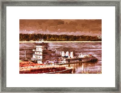 Riverboat - Mississippi River - Push That Barge Framed Print by Barry Jones