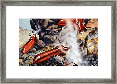 Quarrying, Futuristic Artwork Framed Print by Chris Hellier
