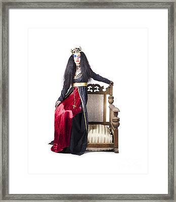 Queen Sitting On Throne Arm Framed Print