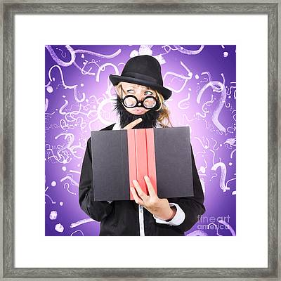Question Man Reading Puzzle Solving Book Framed Print by Jorgo Photography - Wall Art Gallery