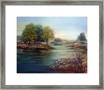 Quiet Day On The Lake Framed Print by Laila Awad Jamaleldin