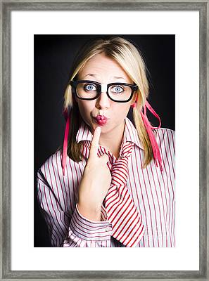 Quiet Female Dork Keeping Secret With Lips Sealed  Framed Print by Jorgo Photography - Wall Art Gallery