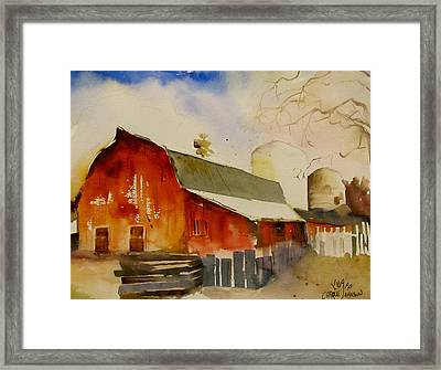 Quiet Red Barn Framed Print