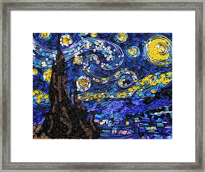 Quilled Starry Night Framed Print by Suzy Myers