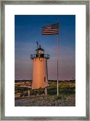 Race Point Lighthouse And Old Glory Framed Print by Susan Candelario
