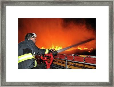 Raging Fire Near The Haifa Oil Refinery Framed Print by Photostock-israel