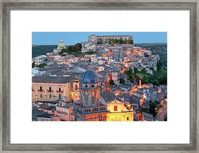 Ragusa At Dusk, Sicily, Italy Framed Print by Peter Adams