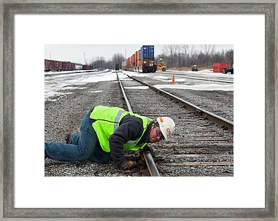 Rail Yard Track Maintenance Framed Print by Jim West