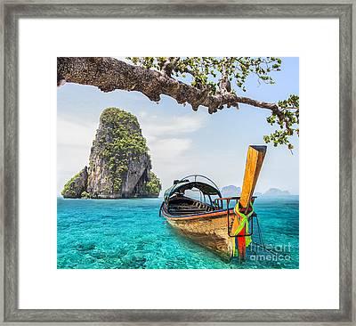 Railay Beach Framed Print by Anek Suwannaphoom