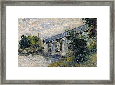 Railway Bridge At Argenteuil Framed Print by Claude Monet