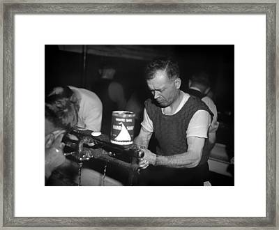 Railway Workers Washing Up At Lunch Time 1943 Framed Print