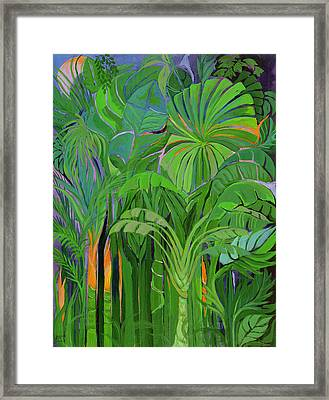 Rain Forest, Malaysia, 1990 Acrylic On Canvas Framed Print by Laila Shawa