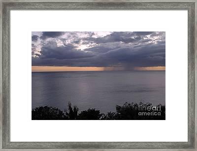 Rain On The Ocean Framed Print
